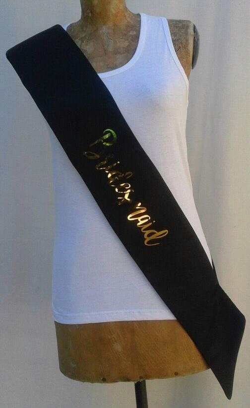 satin-sash--black-with-metallic-gold-bridesmaid-