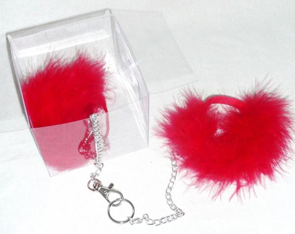 &quotfluffy-cuffs&quot--marabou-wrist-cuffs-&amp-chain--red-